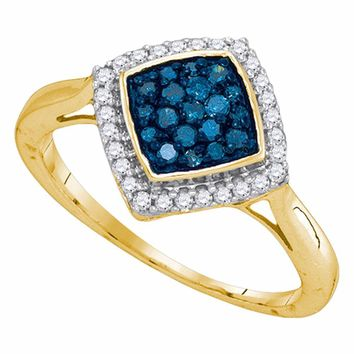 10kt Yellow Gold Womens Round Blue Color Enhanced Diamond Square Cluster Ring 1/3 Cttw