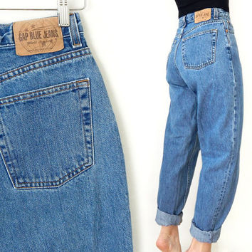 "Vintage 90s GAP High Waist Tapered Women's Jeans - Size 8 LONG - Baggy Stonewashed Mom Jeans - 28"" Waist"