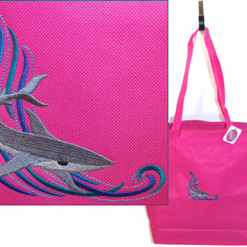 Swimming Deep Sea Shark Beach Tote Bag Large Zipper Monogram Custom Embroidered