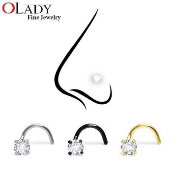 ac DCCKO2Q Fashion Stainless Steel 3MM Crystal Rhinestone Nose Studs Hooks Bar Pin Nose Rings Body Piercing Jewelry For Women