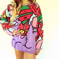 Peter Max - Neo Max Sweatshirt // vintage 80s reversible boho hipster shirt cotton blend dress sweater blouse avant garde pop culture art
