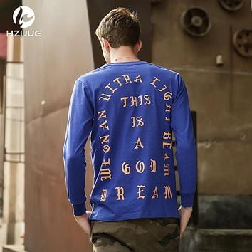 HZIJUE 2018 i feel like pablo New Fashion Justin bieber T-Shirt Mens Kanye West Style Long Sleeve Causal Printed Mens Tops Tees