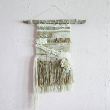 "Large Woven Wall Hanging, Textile, Fiber Art, Macramé, Reclaimed Drift Wood - ""Sandy"" - Fiber art"