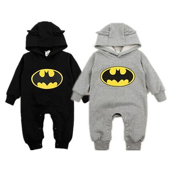 Canis 2017 Winter Newborn Baby Boy Girls Sweater Batman Hoodies Romper Jumpsuit Gray or Black Hooded Autumn Warm 0-24M SS