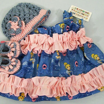 Baby Girl Gift Set--Disney Princess Blue with Pink-Baby Dress-Hat-Shoes-3 Piece set-Baby Shower Gift-Made in the USA-3/6M-