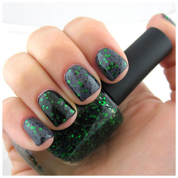 Bad Mogwai  Green Black Gremlin Halloween Nail Polish by ILoveNP