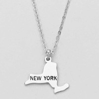 New York State Plated Pendant Necklace