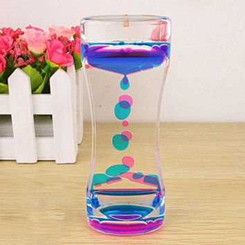 Floating Color Mix Illusion Timer Liquid Motion Visual Slim liquid Oil Acrylic Hourglass Timer Clock Ornament Desk