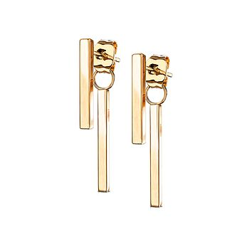 Raise The Bar In Rose Gold - Classic Stainless Steel IP Rose Gold Bar Earrings
