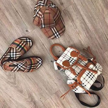 Burberry New Fashion Shopping Canvas Plaid Backpack Tote Satchel Shoulder Bag Brown