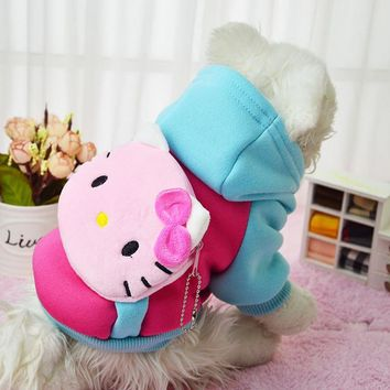 2016 New Hello Kitty Hot Soft Winter Warm Pet Dog Clothes Cozy Snowflake Dos Costume Clothing Jacket Teddy Hoodie Coat Coloful