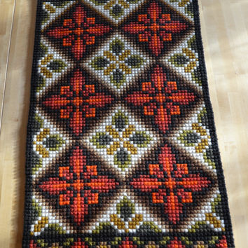 Vintage needle point tapestry from Norway Folk art wall hanging Traditional style ornaments Mid century woolen home decor