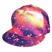 W&Hstore Galaxy Space Print Hit Hop Cap Snapback Trucker Hat (16RED)