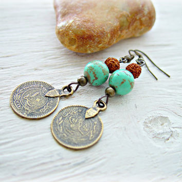 Boho Earrings - Boho Coin Earrings - Gypsy Coin Earrings - Boho Jewelry - Rudraksha Earrings - Yoga Jewelry -  Hippie Earrings