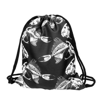 Drawstring Backpack in fish bone pattern in black color for cheap drawstring