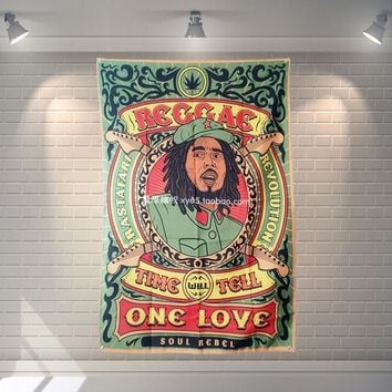 """BOB Marley"" Pop Band Sign Cloth Flag Four-Hole Hanging paintings Cafe Hotel Music Studio Decoration"