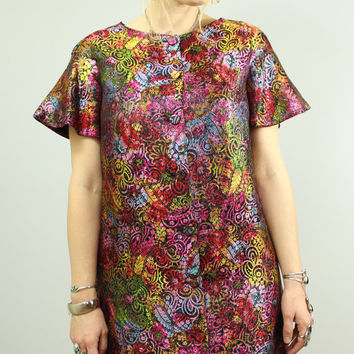 60s - Alfred Shaheen - Ethnic - Metallic Rainbow - Floral & Paisley Brocade - Button Up - Caftan Cut - A-Line Dress