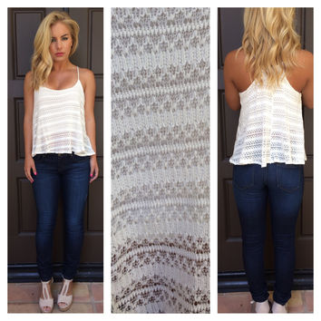 Cream Knit Summer Love Tank