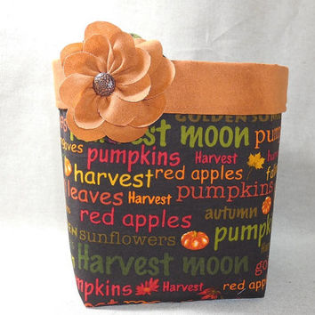 Lovely Autumn Words Fabric Basket With Detachable Fabric Flower Pin