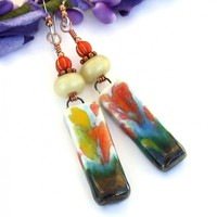 Impressionist Orange Yellow Flower Earrings, Ceramic Lampwork Jewelry