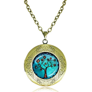 TREE OF LIFE Pendant Bodhi Tree locket Necklace Yin Yang Yoga Tree Jewelry Meditation Jewelry Zen Necklaces tree Reflection 7