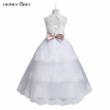 White Ivory Lace Princess Flower Girl Dresses 2016 Ball Gown Long kids evening gowns Girls First Communion Dresses for weddings