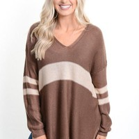 Brown Striped Varsity Sweater