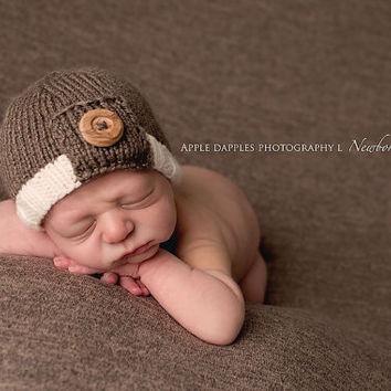 Knit Tab Beanie with Button - Baby Boy - Newborn Size