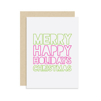 Merry Christmas Happy Holidays - Christmas Holiday Seasonal Card Gift - Bright Pink Green - Modern Cute Fun 5x7