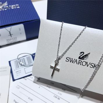 KUYOU Swarovski Ms. Simple Cross Pendant Crystal Necklace