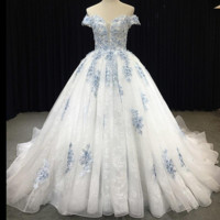 Something Blue Ball Gown Wedding Dress Unique Lace Appliqued New Bridal Gown