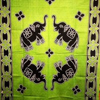 Batik Elephant Tapestry Green - mellow mood
