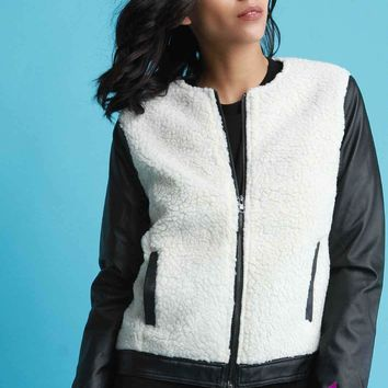 Faux Shearling Leather Sleeves Zip-Up Jacket