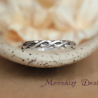 Sterling Silver Celtic Endless Knot Wedding Band - Narrow Celtic Pattern Band - Sterling Silver Braided Ring - Promise Band -Commitment Band