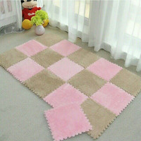 30*30CM living room bedroom children kids soft patchwork carpet magic Jigsaw Splice slip-resistant puzzle climbing baby mat
