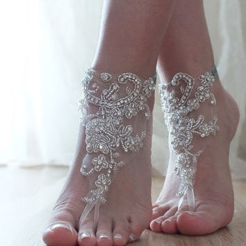 Rhinestone barefoot, Beach wedding barefoot sandals, FREE SHIP Barefoot Sandals, Sexy, Yoga, Anklet, Bellydance, Steampunk, Beach Pool