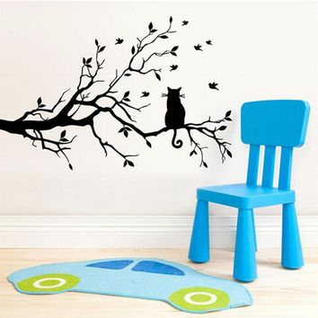 2017 Cat On Tree Branch Birds Vinyl Wall Sticker Wall Art Living Room Decorative,Glass Window Kitchen Wall Stickers Home Decor