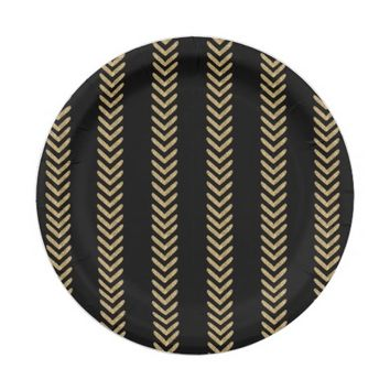 Black Gold Chevron Arrows Paper Plates