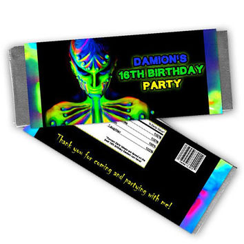 Glow Candy Bar Wrapper - Boy Glow Birthday Party Favors - Neon Glow Party Candy Wrapper - Candy Labels - Boy Glow Party - Rave Candy Kids