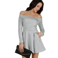 Sale-gray Love Story Skater Dress