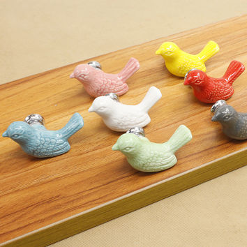 Fashion Creative Bird Ceramic Door Knob Cabinet Drawer Suitable Kitchen Furniture Home Pull Handle