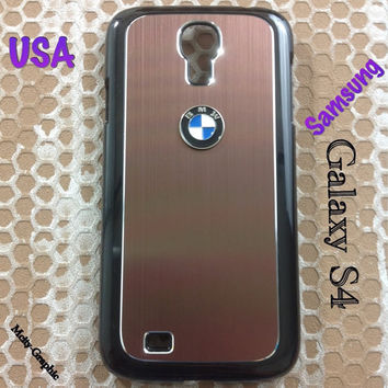 BMW Samsung Galaxy S4 Case BMW 3D metal Logo Premium Cover for S4 / i9500 - Coffee Brown