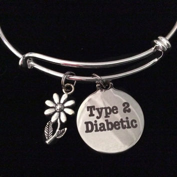 Type 2 Diabetic Silver Expandable Charm Bracelet Diabetes Adjustable Bangle Medical Alert Jewelry Gift