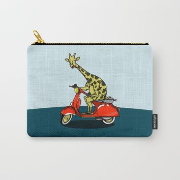 Giraffe riding a moped Carry-All Pouch by mailboxdisco