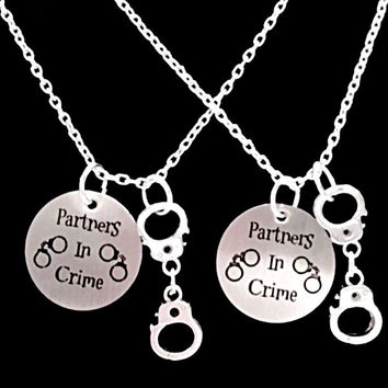 2 Necklaces Partners In Crime Handcuff Best Friends Couple's BFF Sisters Set