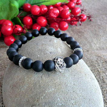 Lion Mens Bracelet Yoga bracelet Gemstone Bracelet Men Jewelery Stone Bracelet Mens gift Bracelet for men