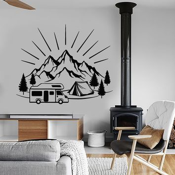 Vinyl Wall Decal Camping Tent Travel Mountains Landscape Stickers (2774ig)