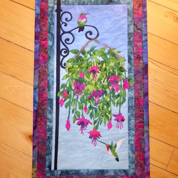 Hummingbird Art Quilted Wall Hanging