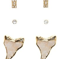 Gold Druzy Shark Tooth Stud Earrings - 3 Pack by Charlotte Russe