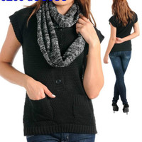 SEXY BLACK ROCKABILLY CHUNKY HEAVY SWEATER CARDIGAN KNIT TOP WITH SCARF S,M,L,XL